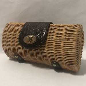Vintage Crocodile Straw Clutch Mini Shoulder Bag